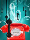 Retro phone with hanging receivers — Stock Photo