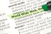 World-wide-web-definition, die grün markiert — Stockfoto