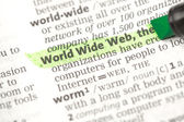 World wide web définition surlignée en vert — Photo
