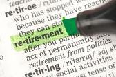 Definição de aposentadoria realçada em verde — Foto Stock