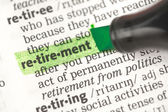 Retirement definition highlighted in green — Foto Stock