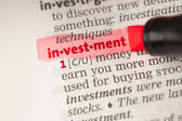 Investment definition highlighted in red — Stock Photo