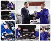 Collage of mechanics at work with happy customer — Stok fotoğraf