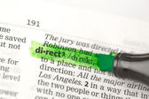 Direct definition highlighted in green — Stock Photo