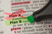 Plan B definition highlighted in green with Plan A marked — Stock Photo