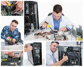 Collage de technicien en informatique au travail — Photo
