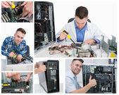 Collage of computer technician at work — Photo