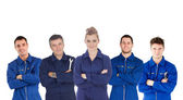 Mechanics in boiler suits portrait — Foto Stock