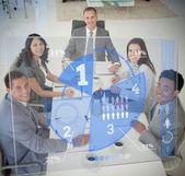Business using blue pie chart interface — Stock Photo