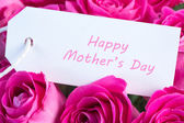 Close-up of a bouquet of pink roses with happy mothers day card — Stock Photo