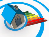 Energy ratings colour chart coming from 3d house — Stock Photo