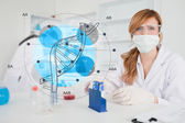 Scientist with protective mask using dna diagram interface — Stock Photo