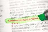 Communication definition highlighted in green — Stock Photo