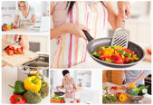 Collage of women cooking — Stock Photo