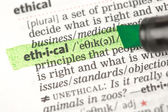 Ethical definition highlighted in green — Stock Photo