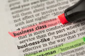 Business class definition highlighted in red — Stock Photo