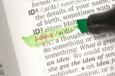 Idea definition highlighted in green — Stock Photo