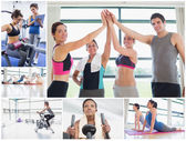 Collage av glad på gymmet — Stockfoto