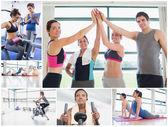 Collage van gelukkig op de sportschool — Stockfoto