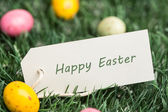 Happy easter-tag mit ostereiern — Stockfoto