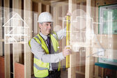 Architect using spirit level while looking at white hologram int — Foto Stock