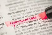 Communicate definition highlighted in red — Stock Photo
