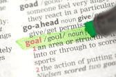 Goal definition highlighted in green — Stock Photo