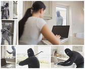 Collage of burglar activity — Stock Photo