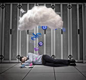 Data worker dreaming of applications and cloud computing — Stock Photo