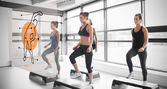Women doing exercise with futuristic interface demonstration — Stok fotoğraf