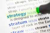 Strategy definition highlighted — Stockfoto