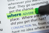 Where definition highlighted — Stock Photo