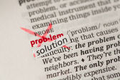 Problem definition word crossed out and replaced with solution — Stock Photo