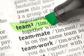 Team definition highlighted in green — Stock Photo