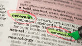 Network definition circled and highlighted — Stock Photo