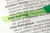 Marketing definition highlighted in green — Stock Photo