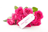 Close up of a beautiful bouquet of pink roses with a happy mothe — Stock Photo