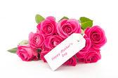 Ein schöner strauß rosa rosen mit einem glücklich mothe nahaufnahme — Stockfoto