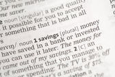 Savings money definition — Stock Photo