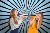 Girl shouting at another through me — Stockfoto