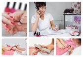 Collage de las situaciones de salón de uñas — Foto de Stock