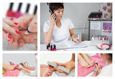 Collage of nail salon situations — Photo