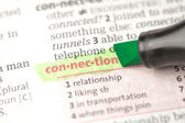 Connection definition highlighted in green — Stock Photo