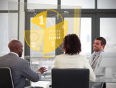 Business using yellow pie chart interface — Stock Photo