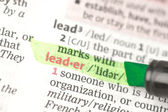 Leader definition highlighted in green — Stock Photo