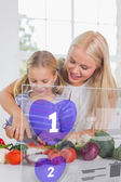 Mother and daughter chopping vegetables with purple holographic — Stock Photo
