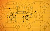 Foto de diagramas de coches sobre fondo amarillo — Foto de Stock