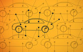 Picture of cars diagrams on yellow background — Stock Photo