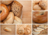 Collage of different types of bread — Stock Photo