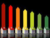 Siete casas 3d que representa la eficiencia energética — Foto de Stock